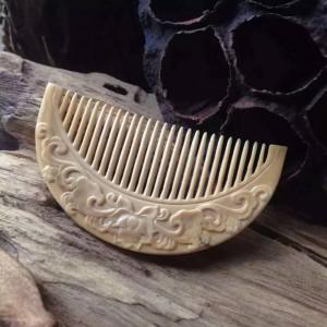 天然正品可爱冰咖啡猛犸象牙精雕小梳子头梳