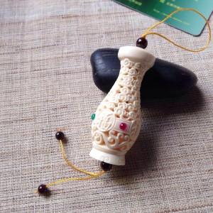 天然正品猛犸象牙镂空花瓶镶嵌宝石挂饰 (3)