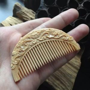 完美品质咖啡冰料猛犸象牙精雕小梳子
