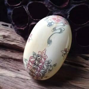 油彩雕刻猛犸象牙达摩手玩件手把件