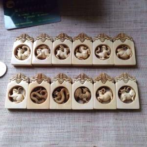 生动形象古朴韵味猛犸象牙十二生肖牌子摆件