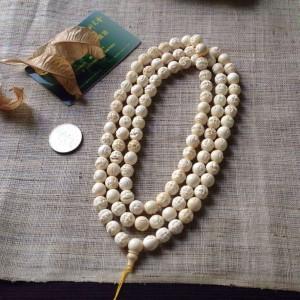 10mm猛犸象牙精品108罗汉佛珠手串项链 (1)