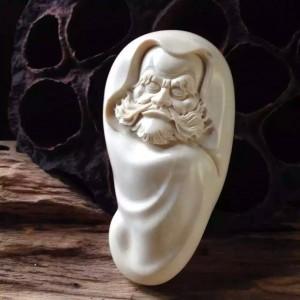 完美品相白冰满纹猛犸象牙雕刻达摩手把件手玩件