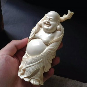 猛犸象牙一体精工雕刻弥勒佛摆件