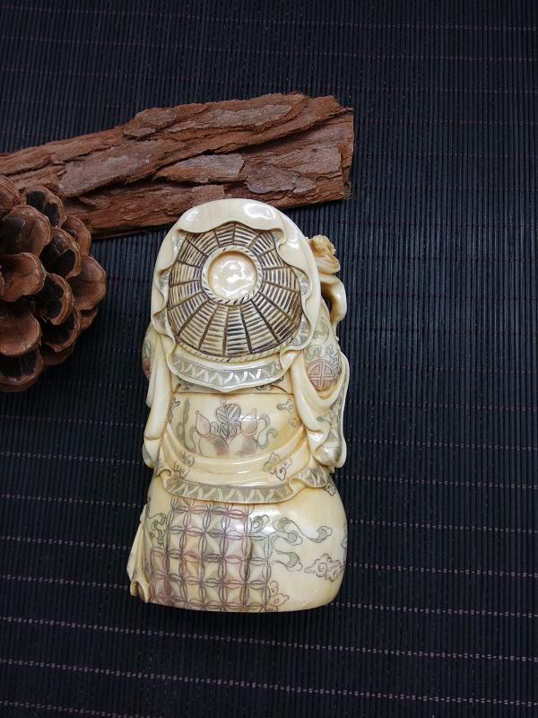 猛犸象牙弥勒佛摆件做旧刻画摆件