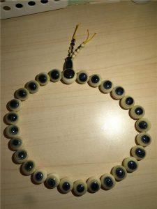 猛犸象牙16mm蓝眼睛手串28颗蓝皮圆珠