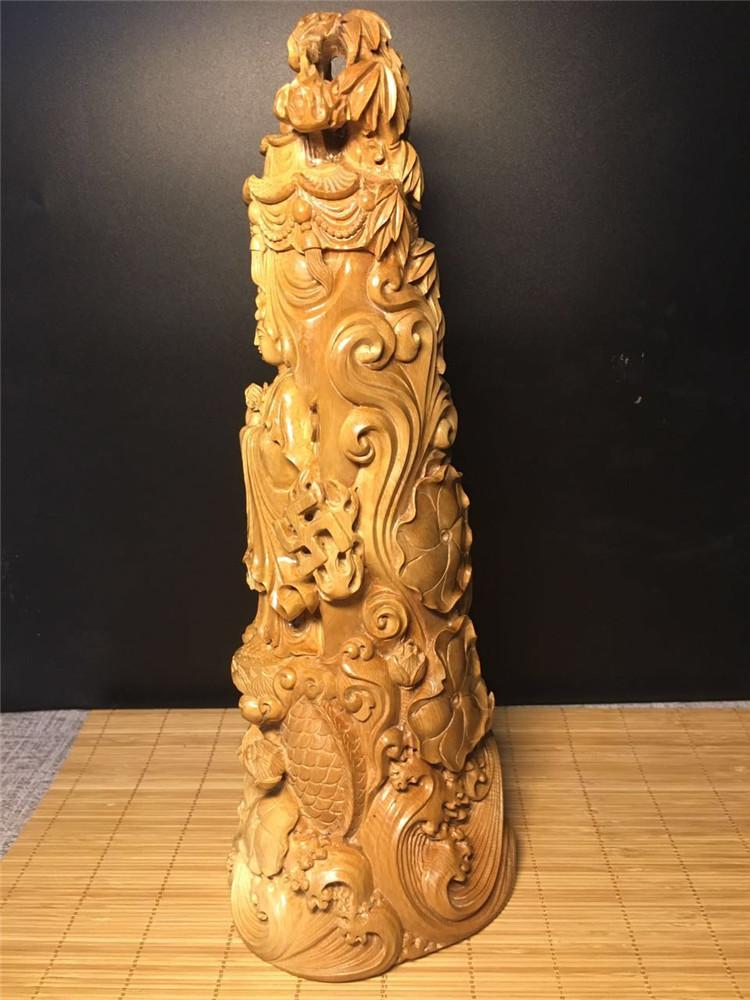 金大师牙雕作品猛犸象牙咖啡观音摆件