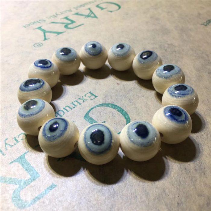 猛犸象牙1.8蓝眼睛手串带眼瞳猛犸蓝皮手串