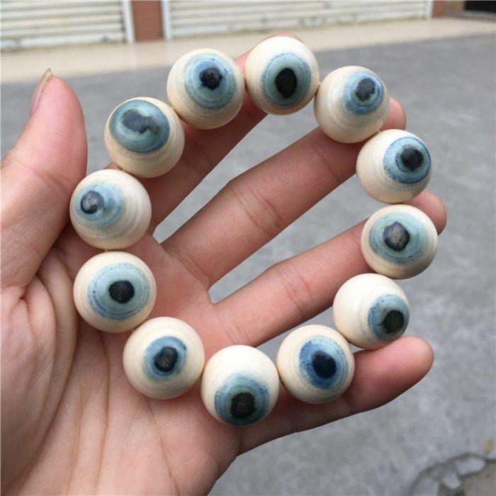 猛犸象牙极品蓝眼睛手串带眼瞳蓝眼睛手串