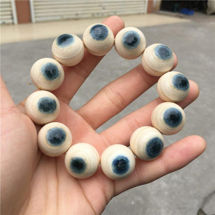 猛犸象牙2.0蓝眼睛手串猛犸牙20mm蓝皮手串