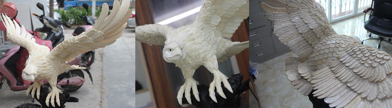 猛犸象牙雕刻老鹰大鹏展翅雕刻件
